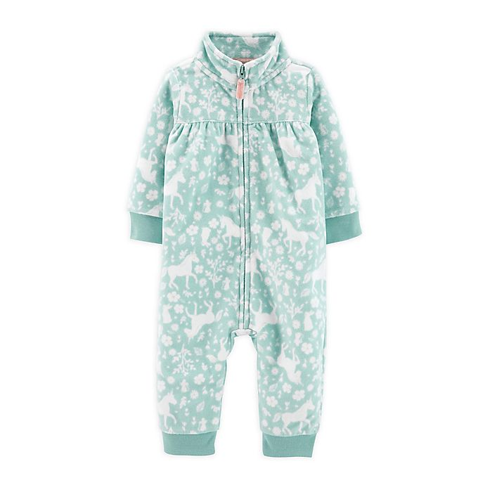 Alternate image 1 for carter's® Unicorn Microfleece Coverall in Aqua