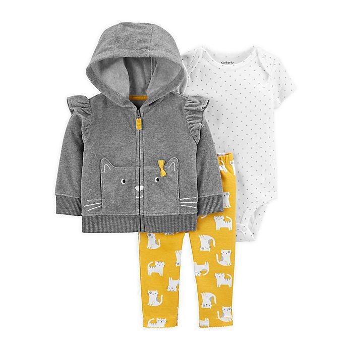 Alternate image 1 for carter's® Grey Cat 3-Piece Jacket Set in Grey/Yellow