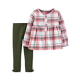 carter's® 2-Piece Plaid Top and Pants Set in Olive/Pink