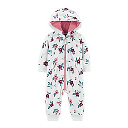 carter's® Floral Hooded Microfleece Coverall in White