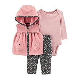 carter's® 3-Piece Vest, Bodysuit, and Pant Set in Pink