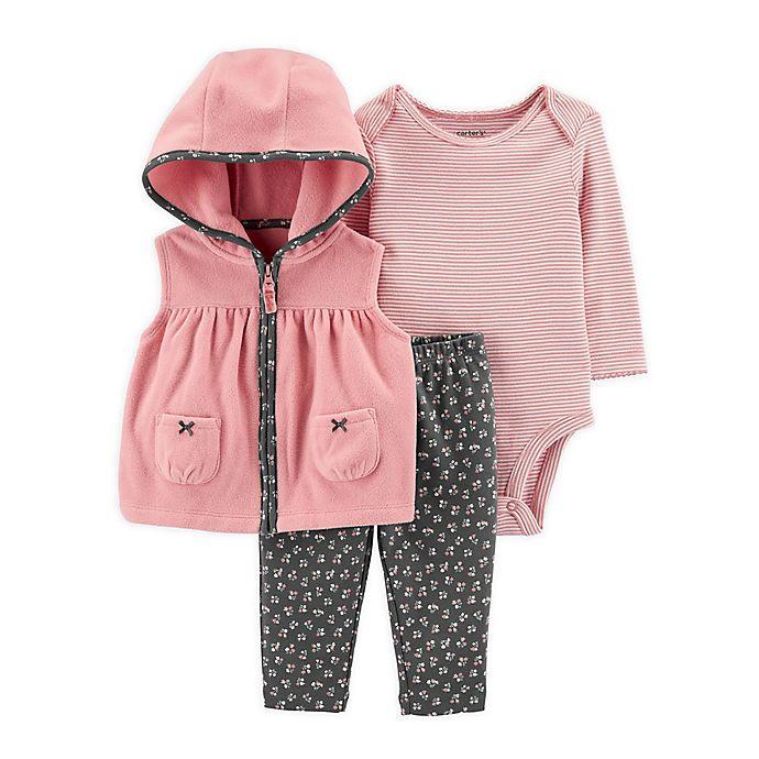 Alternate image 1 for carter's® 3-Piece Vest, Bodysuit, and Pant Set in Pink