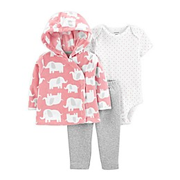 carter's® 3-Piece Elephant Hooded Jacket, Bodysuit, and Pant Set in Pink