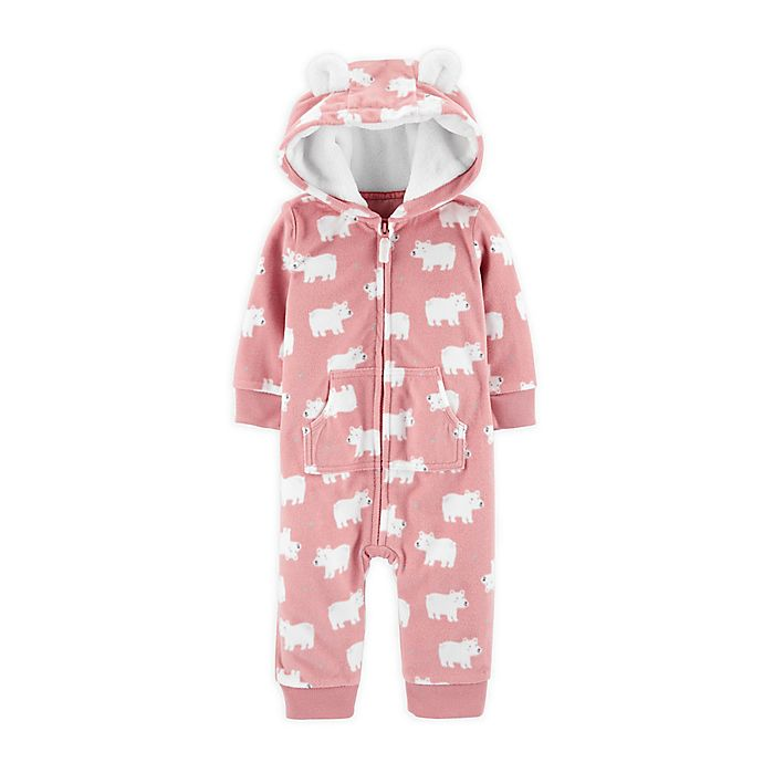Alternate image 1 for carter's® Bears Hooded Microfleece Coverall in Pink