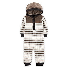 carter's® Striped Hooded Fleece Jumpsuit in Brown