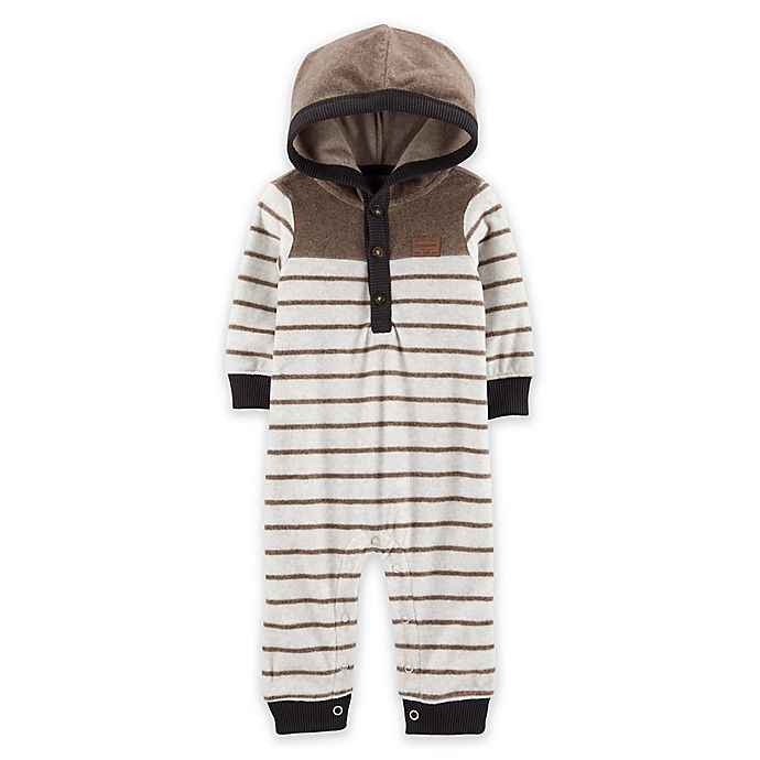 Alternate image 1 for carter's® Striped Hooded Fleece Jumpsuit in Brown