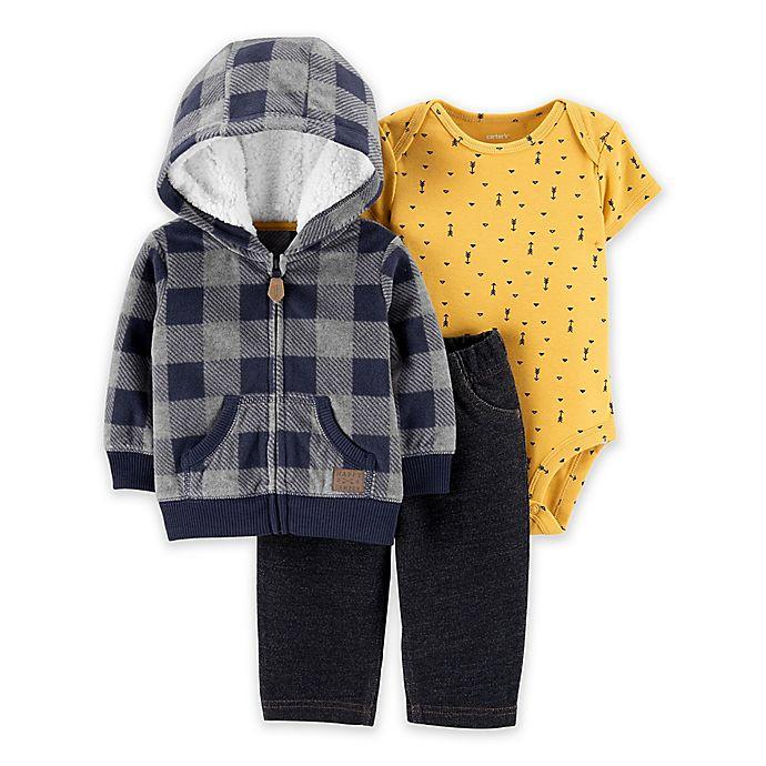 Alternate image 1 for carter's® 3-Piece Plaid Fleece Jacket Set