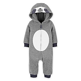 carter's® Sloth Hooded Fleece Jumpsuit in Grey