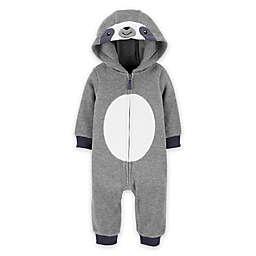carter's® Sloth Hooded Fleece Jumpsuit in Grey