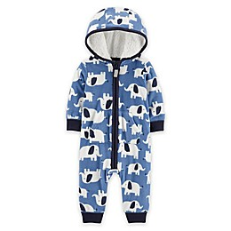 carter's® Elephant Hooded Fleece Jumpsuit