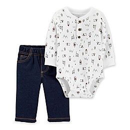 carter's® 2-Piece Winter Henley Bodysuit Pant Set