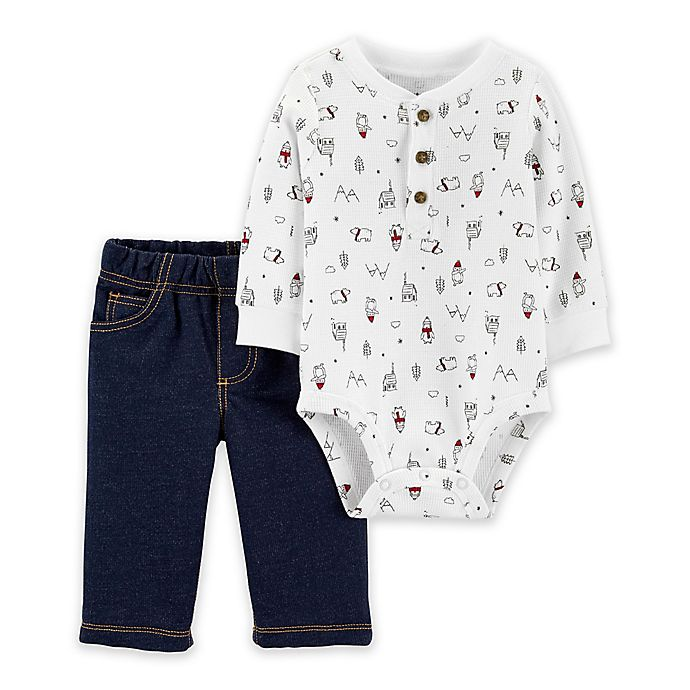 Alternate image 1 for carter's® 2-Piece Winter Henley Bodysuit Pant Set