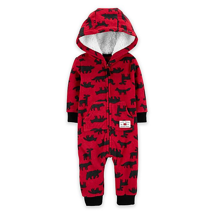 Alternate image 1 for carter's Woodland Hooded Coverall in Red