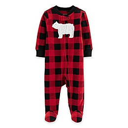 carter's® Buffalo Bear Thermal Snap-Up Footie in Red