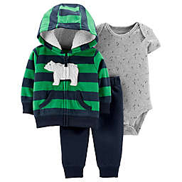 carter's® 3-Piece Striped Bear Hoodie, Bodysuit and Pant Set