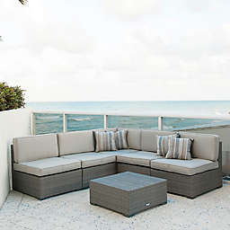 Atlantic Bellagio 6-Piece Patio Sectional Set in Grey with Sunbrella® Cushions