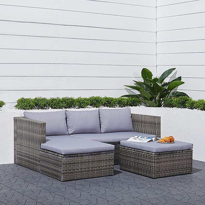 Alternate image 1 for Vifah Daytona 3-Piece Woven Wicker Outdoor Sectional Conversation Set