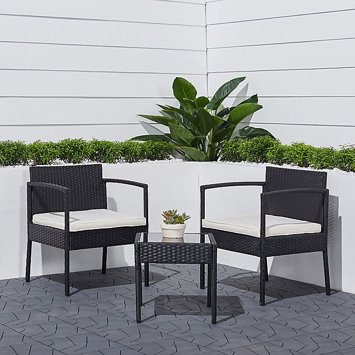 Alternate image 1 for Vifah Terra 3-Piece Woven Wicker Outdoor Patio Bistro Set