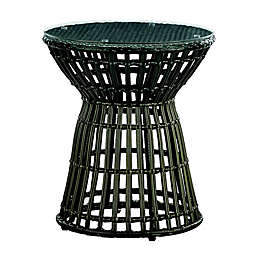 Madison Park Corrynn Wicker Outdoor Accent Table in Bronze