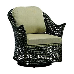 Madison Park Eldon Wicker Outdoor Swivel Lounge Chair in Dark Brown