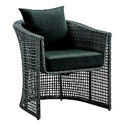 Madison Park Monaco Patio Wicker Lounge Chair in Grey
