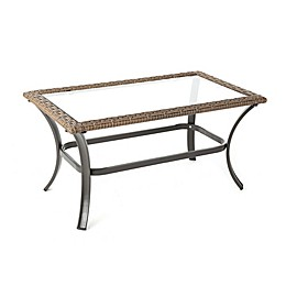 Bee & Willow™ Home All-Weather Wicker Coffee Table with Glass Top in Brown