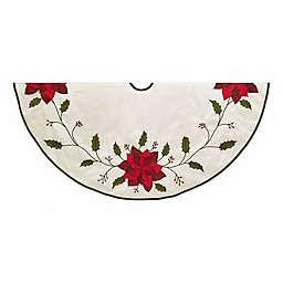 """Kurt Adler® 54"""" Holly and Poinsettia Christmas Tree Skirt in Ivory"""