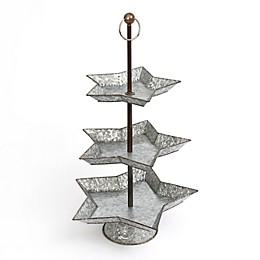 Gerson International 3-Tier Holiday Galvanized Metal Tray