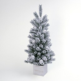 Gerson International 4' Lighted Flocked Artificial Holiday Tree in Wooden Box
