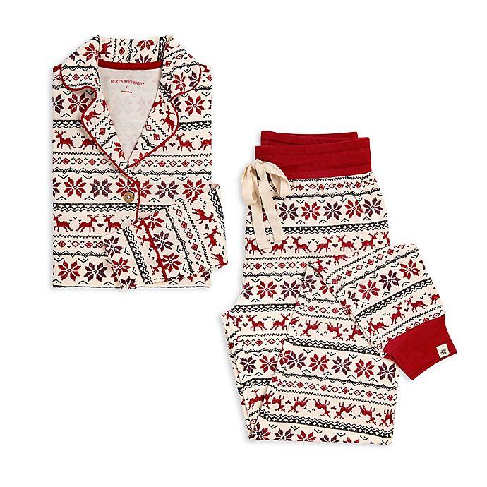 Alternate image 1 for Burt's Bees Baby® Large Dashing Deer Fair Isle 2-Piece Women's Organic Cotton Pajamas