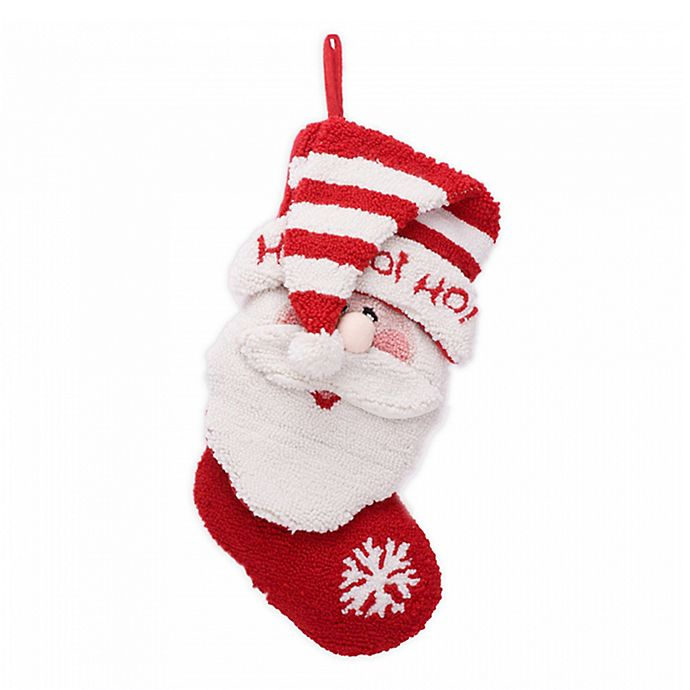 Alternate image 1 for Glitzhome® 19-Inch 3D Hooked Santa Stocking in Red/White