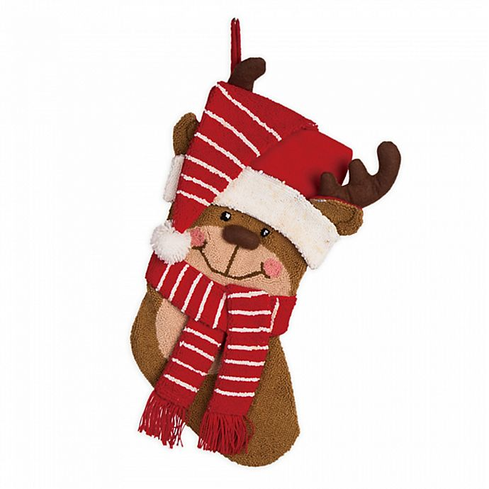 Alternate image 1 for Glitzhome® 19-Inch 3D Hooked Reindeer Stocking in Red/Brown