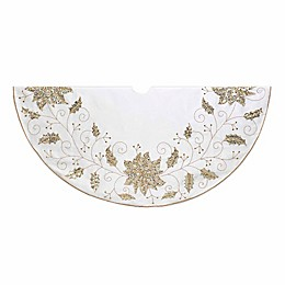 Kurt Adler® 54-Inch Snowflake Holly Christmas Tree Skirt in Ivory