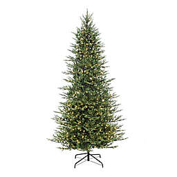 Puleo International 9-Foot Slim Balsam Fir Pre-Lit Christmas Tree with Clear Lights
