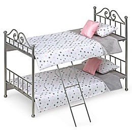 Badger Basket Scrollwork 8-Piece Doll Bunk Bed Set in Silver/Pink/Stars