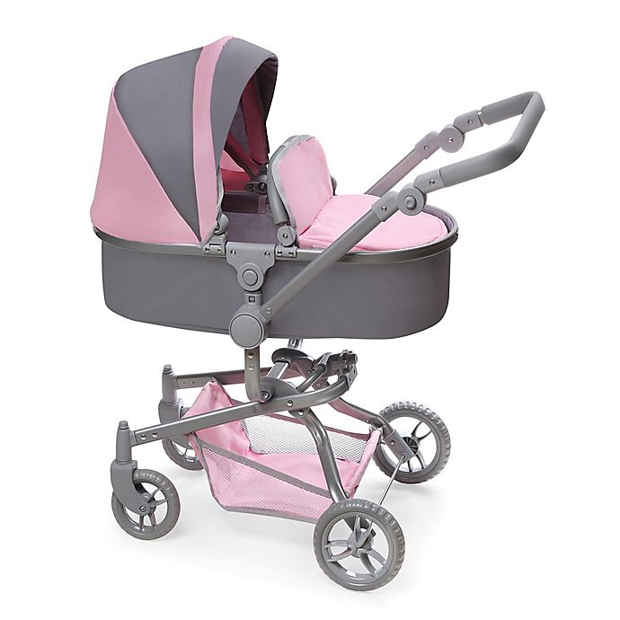 Alternate image 1 for Badger Basket Daydream Multi-Function Single Doll Pram and Stroller in Grey/Pink
