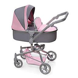 Badger Basket Daydream Multi-Function Single Doll Pram and Stroller in Grey/Pink