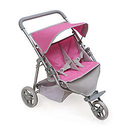 Badger Basket Trek 3-Wheel Twin Doll Jogging Stroller in Grey/Pink