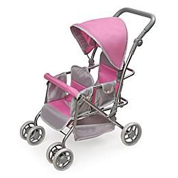 Badger Basket Cruise Folding Inline Double Doll Stroller in Grey/Pink