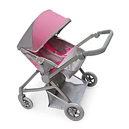 Badger Basket Voyage Twin Carriage Doll Stroller in Grey/Pink