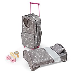 Badger Basket Travel and Tour 9-Piece Doll Trolley Carrier Set with Bed in Grey/Stars