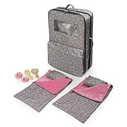 Badger Basket Pack Pretty 9-Piece Double Doll Carrier Set in Grey/Stars