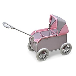 Badger Basket Leisure Twin Doll Wagon in Grey/Pink