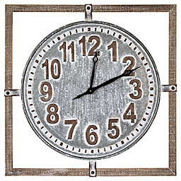 Crystal Art Oversized Wood and Metal Square Farmhouse Wall Clock 27-Inch x 27-Inch in Whitewash