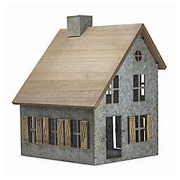 Crystal Art 14-Inch Wood and Metal Schoolhouse Tabletop Decor in Grey