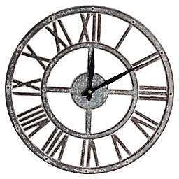 Crystal Art 15-Inch Metal Analog Wall Clock in Whitewash Finish