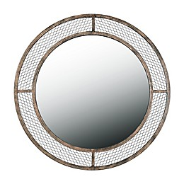 Kenroy Home Grover 34-Inch Round Wall Mirror in Weathered Brown