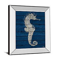 Antique Seahorse On Blue I 26-Inch x 22-Inch Mirror Framed Wall Art
