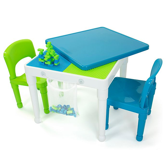 Alternate image 1 for Humble Crew® 2-in-1 LEGO®-Compatible Square Activity Table and Chairs Set