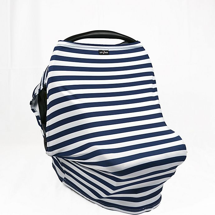 Alternate image 1 for UPF 50+ Car Seat Cover with Side Vents Navy Stripe